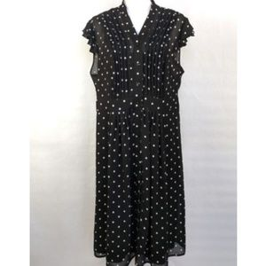 SANDRA DARREN 16W Dress Duster BW Polka Dot